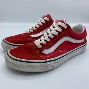 Vans Red Suede Old Skool Lace Up Sneakers Size 7.5